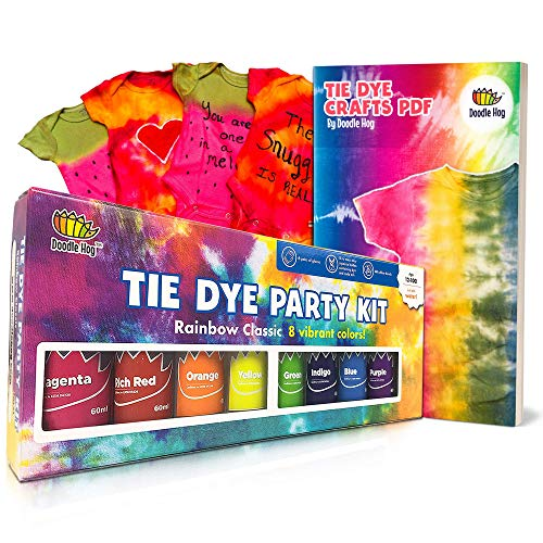 Doodlehog Easy Tie Dye Party Kit for Kids, Adults, and Groups. Create Vibrant Designs with Non-Toxic Dye. 8 Colors Included! Beginner-Friendly: Just Add Water! Dye up to 10 Medium Kids T-Shirts!