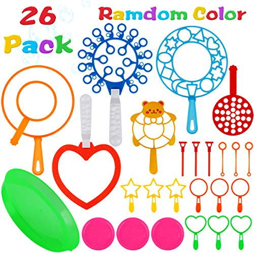 Bubble Wands Set, Aitey 26 Pack Giant Bubble Wands Toy Set Large Bubble Wands with Tray Bulk for Kids Summer Outdoor Activity Party Favors