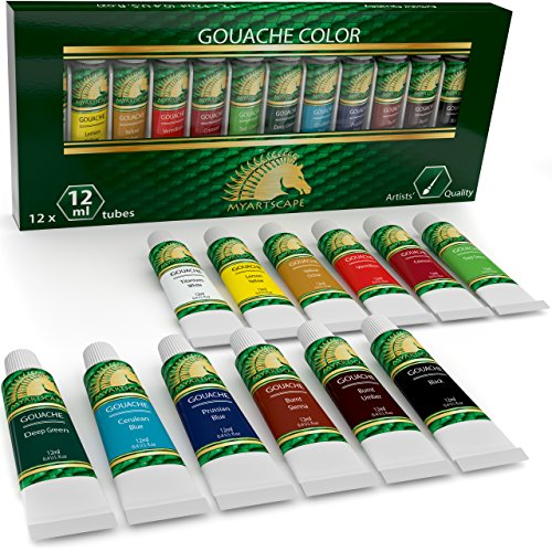 Gouache Paint Set - 12 x 12ml Tubes - Artist Quality Colors for Art on Watercolor Paper, Illustration Board, Artboard & Masonite - Includes Black and White - Professional Supplies by MyArtscape™