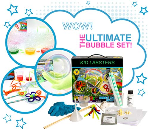 Kid Labsters Bubble Making Science 11-Piece Kit - DIY Non Toxic Solution Experiment w/ Wands & Colorful Bubbles - Own Blowing Formula Making Project for Kids